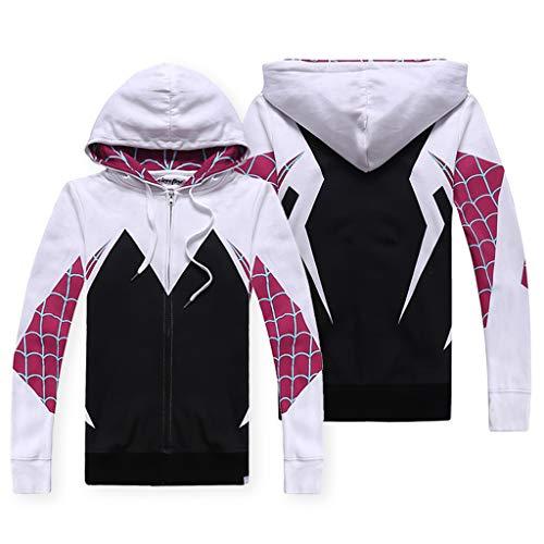 K-Flame Paar Sweatshirt Langarm Reißverschluss Hoodies mit Taschen Anime Thema Cosplay Kapuzenpullover Unisex für Männer Frauen Geschenk - Rückkehr Spiderman,White,S