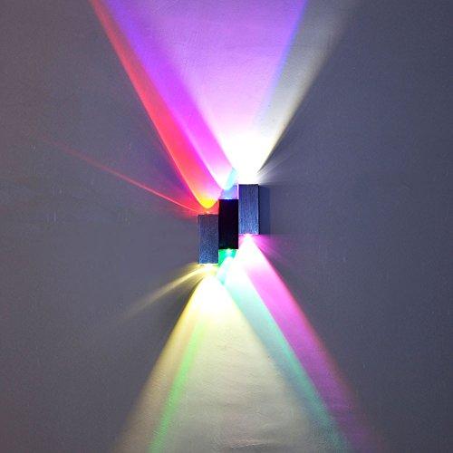 INNORI 6W Verbunden Schwarz und Silber Aluminium LED Wandleuchte mit mehrfarbige Licht-Wand-Deckenfluter -