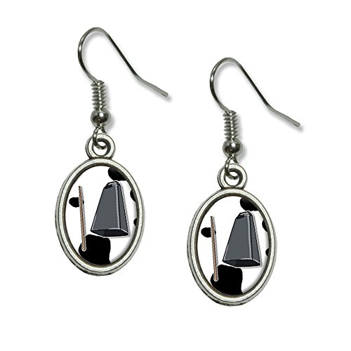 Mehr Cowbell–Musical Musik Marching Band Kuh Druck Neuheit Dangling Tropfen Oval Charm-Ohrringe