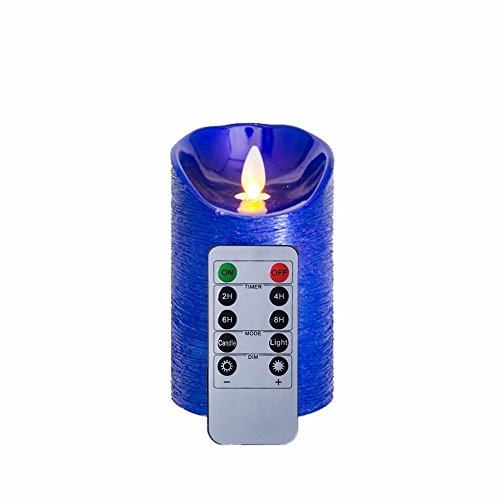 NONNO y ZGF 5inch Glitter azul sin llama LED velas con control remoto / temporizador