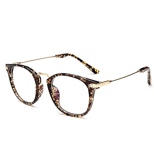 Ranbow 2017 Retro Men and Women Fashion Classic Frame Round Clear Lens Glasses - Leopard (Retro Leopard Sonnenbrille Rock)