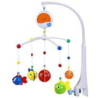Fisca Baby Musical Crib Mobile, Infant Bed Decoration Toy Hanging Rotating Bell with Melodies Dual Purpose(Mobile & Bath Toy)