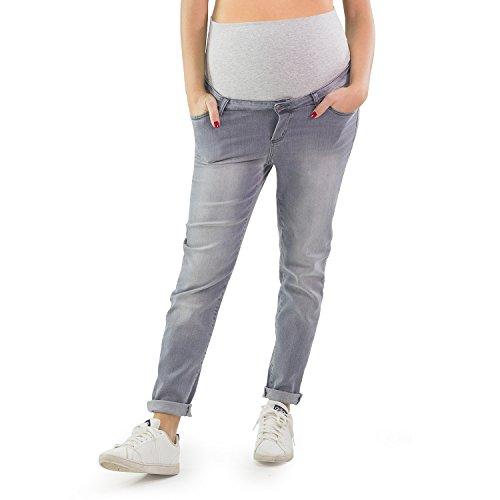 MAMAJEANS Jeans Premaman Cavallo Basso Boyfriend Style Grigio con Leggeri Difetti Prezzo Scontato Made Italy