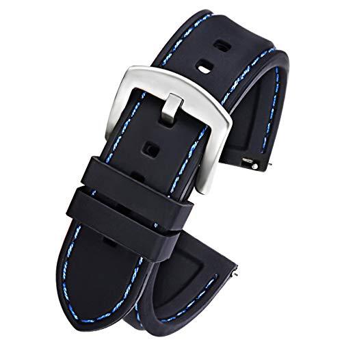 Silikon 20mm Silikonarmband Schnellverschluss Schwarz Blau Stitching Ersatzarmband Silberne Schließe ()