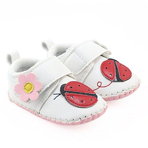 Weicher Cartoon warme Stiefel Lauflernschuhe Krabbelschuhe Babyhausschuhe mit Tier Junge Mädchen Kleinkind 0-6 Monate 6-12 Monate 12-18 Monate (Weiß, 0 ~ 6 Monate)