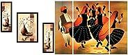 SAF Diwali Gift Up Textured Flower Print Framed Painting Set of 3 for Home Decoration – Size 35 X 2 X 50 cm &a