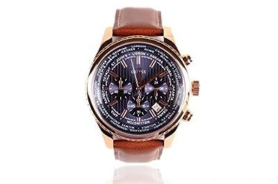 Reloj Guess para hombre Reloj para hombre W0500G1 Cronógrafo - Correa de cuero marrón - Dial azul de Guess