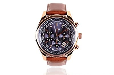 Reloj Guess para hombre Reloj para hombre W0500G1 Cronógrafo - Correa de cuero marrón - Dial azul