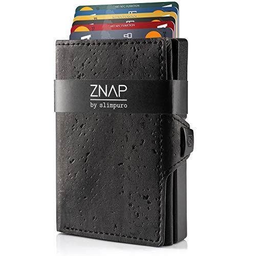 ZNAP Kreditkartenetui mit Geldklammer Aluminium und Münzfach - RFID Schutz - Slim Wallet Schwarz - Kartenetui, Kreditkarten Etuis, Geldbeutel - bis 12 Karten - Geld Clip von SLIMPURO