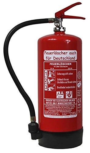 NEU 9 L Schaum Feuerlöscher auch für Deutschland Brandklasse AB DIN EN3 GS + Wandhalter + Manometer + Standfuß