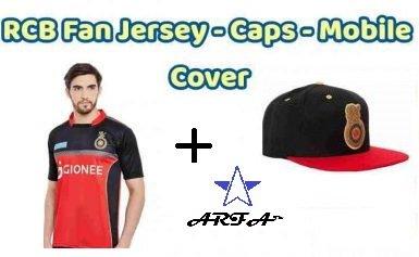 ARFA (Trade Mark) Combo - 1 RCB (Royal Challengers Bangalore) IPL T-Shirt & 1 RCB Cap for 16 - 20 years boy or Girl by Aaina ARFA.