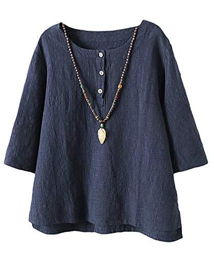 Frauen Sommer Baumwolle Leinen Tunika Medium Sleeve T-Shirt Rundhals Jacquard T-Shirt Tops (Jacquard Sleeve Shirt)