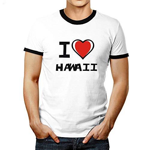 Idakoos I Love Hawaii Bicolor Heart Ringer T-Shirt M - Hawaii Ringer