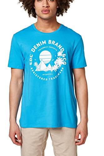 edc by ESPRIT Herren T-Shirt 048CC2K030, Blau (Blue 430), X-Large