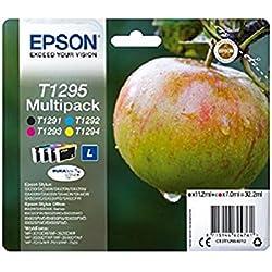 Encre d'origine EPSON Multipack Pomme T1295 : cartouches Noir, Cyan, Magenta et Jaune Amazon Dash Replenishment est prêt