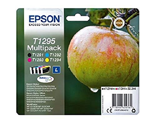 Epson C13T12954010 T1295 Tintenpatrone schwarz und dreifarbig hohe Kapazität 11.2ml und 3 x 7ml 4er-Pack -DURABrite Ultra Ink Ret. Pack-untagged