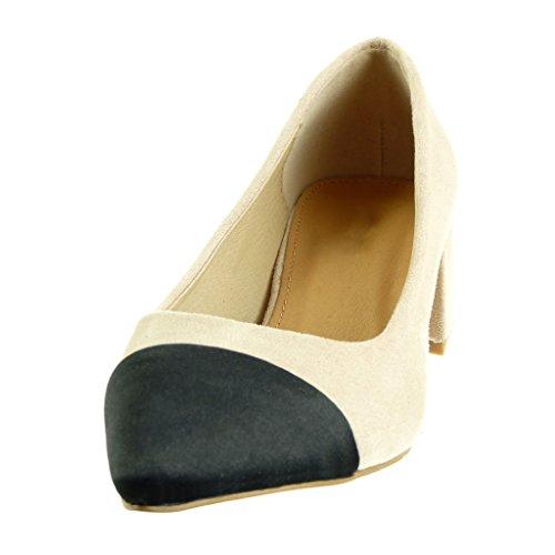 Angkorly - Chaussures Décolletées Mode Femme Bi-matière Décolleté Talon Haut Talon Carré 4,5 Cm Beige