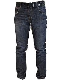 Mens Designer Crosshatch Straight Leg Denim Jeans & Belt Regular To King Sizes