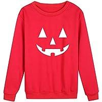 Xinxinyu Sudadera Impresión Calabaza, Mujeres Víspera de Todos Los Santos Pullover Jersey Holgado, Casual Blusas Cuello Redondo Manga Larga Tops para Fiesta (S, Rojo)