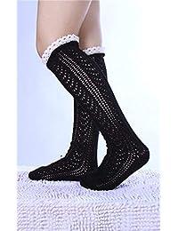 Calcetines hasta la rodilla de las mujeres Calcetines calados japoneses y coreanos para tejer Calcetines de