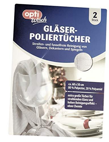 Gläser-Poliertuch Microfasertuch 2er-Pack