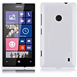 JAMMYLIZARD | Back Cover Hülle für Nokia Lumia 520 Schutzhülle aus Silikon in Gebürstetes Aluminium Optik, WEIß