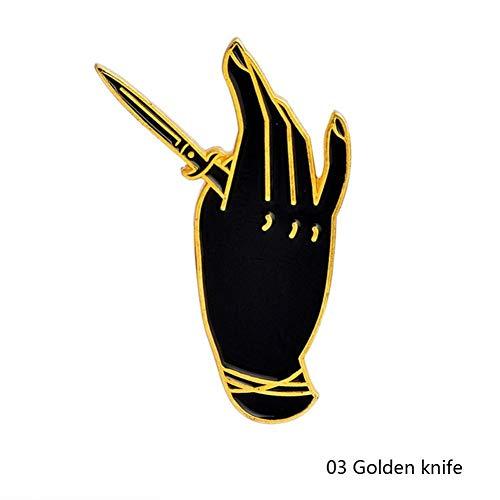 HFKDJ Brosche Schwarz Dunkle Punk Hände Stifte Schnalle Gold Silber Emaille Pflanzen Blumen Brosche Für Frauen Männer Freunde Shirt Revers Pin Badge, Goldenes Messer - Messer, Hut-pins