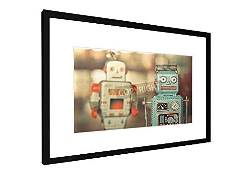 Alte klassische Roboter Spielzeug - 60x40 cm - Bild mit Rahmen / Gerahmtes Poster - Kunstdruck - Wandbild - Kunst, Gemälde, Foto, Bild - Künstler