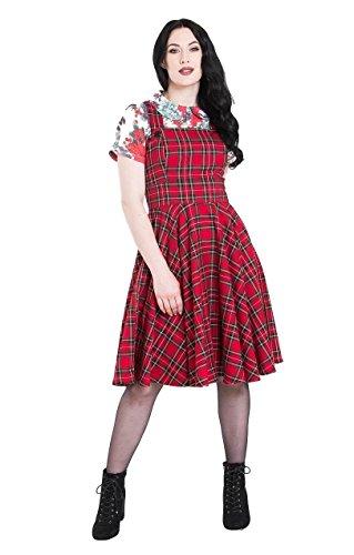 Hell Bunny Irvine Tartan Pinafore Vintage Retro Kleid Schürze - Rot (L - DE 40) -