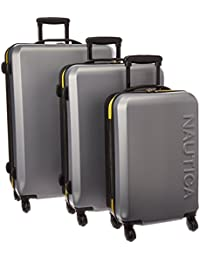 "Nautica Ahoy 3 Piece Hardside Spinner Luggage Set (28""/25""/21""), Silver/Black/Empire Yellow"