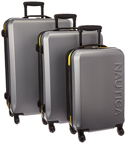 Nautica Ahoy 3 Piece Hardside Spinner Luggage Set (28in/25in/21in), Silver/Black/Empire Yellow