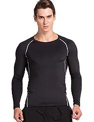 Cody Lundin Homme T-shirt Noir Manches Longueurs Slim Sport Fitness Bodybuilding Gym Style Fondamental Vest