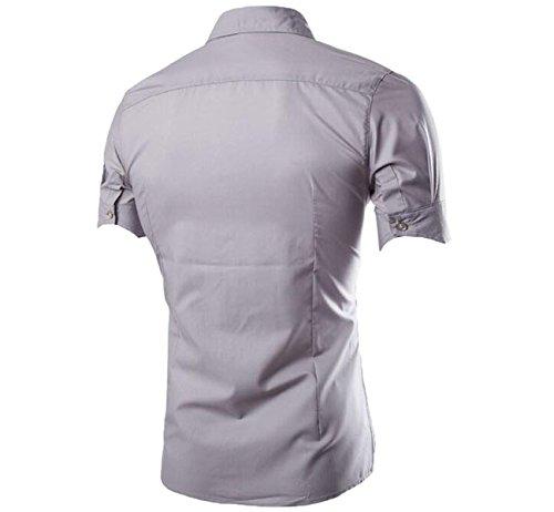 Chemise d'été shirt manches courtes couleur unie garçon Homme Gris