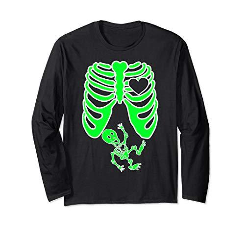 Baby Schwangere Arme Kostüm - Schwangere Röntgen-Skelett Baby Kostüm Mutter Halloween Langarmshirt
