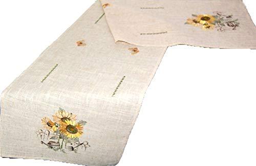 (Markenlos Rustikale Tischdecke 40x160 cm Decke Läufer Tischband Eckig Sunflower Leinenoptik Sonnenblume Gestickt Tisch Deko Herbst (Tischband 40 x 160 cm))