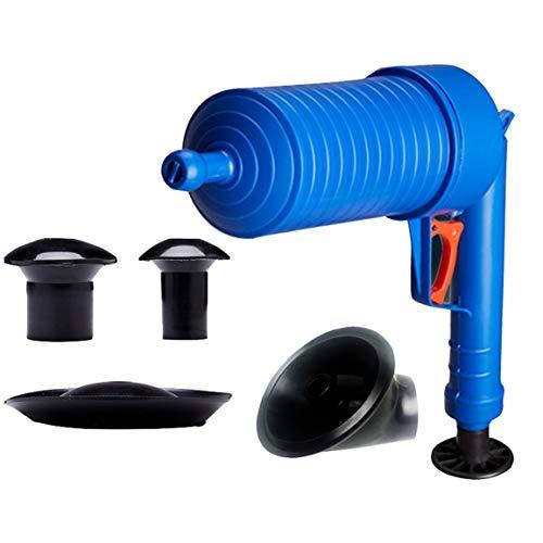 Garciadia Hochdruck Air Drain Blaster Cleaner ABS Kunststoff Pipeline Dredge Toiletten Verstopfte Rohre & Abflüsse Mit 4 Adaptern (Farbe: blau) - Abs-drain