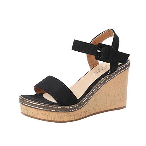 Kkangrunmy sandali sportivi donna,sandali tacco alto sandalo con tacco,donne piattaforma tacchi alti zeppa sandali fibbia slope (36, nero)