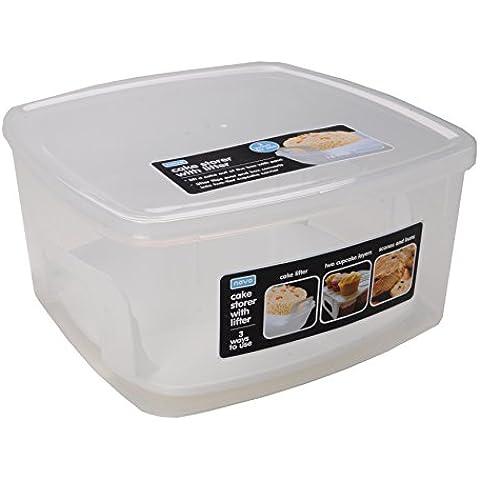 Novo Contenitore per torte con 2-Way-Sollevatore per torte e dolci, colore: trasparente