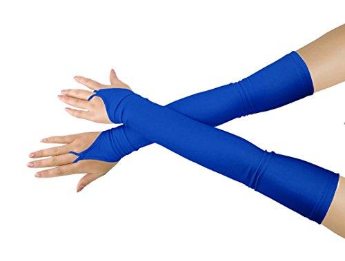 chsene Halloween Make-Up Fingerlose Über Elbow Cosplay Kostüm Handschuhe (royal blue) (Mittelfinger Halloween Kostüm)
