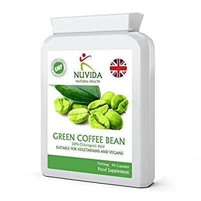 Green Coffee Bean Extract Capsules/High Strength / 5000mg / 90 Vegetarian Capsules/Using Raw Un-Roasted Green Coffee Beans / 100% Quality Assurance from Nuvida Natural Health from THC LTD