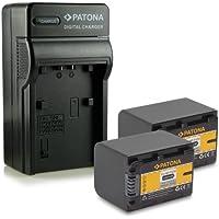 Bundle - 4en1 Cargador + 2x Batería NP-FV70 para Sony Camcorder DCR-DVD110E, DVD115E, DVD150E, DVD310E, DVD410E, DVD450E, DVD510E, DVD610E, DVD650E, DVD710E, DVD810E, DVD850E, DVD910E | DCR-SR15E, SR37E, SR38E, SR47E, SR48E, SR57E, SR58E mucho más….