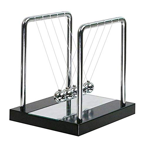 DIF Newtons Wiege Balance Stahlkugel interessante Pendel Stahlkugel Massivholzsockel mit Spiegelglas Metall permanent bewegliche Kugel kleine Stahlkugel,A -