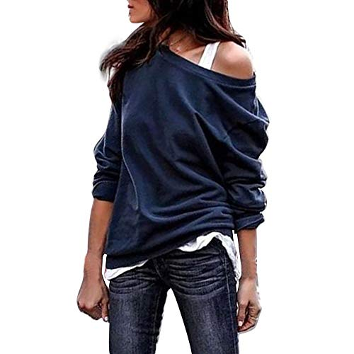 UJUNAOR Frühling Frauen Mode Einfarbiges schräges Schulter-Langarm-Shirt Bluse(Marine,CN L)