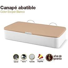 Naturconfort Canapé Abatible Tapizado Apertura Lateral Tapa 3D Ecopel Blanco 90x180cm Envio y Montaje Gratis