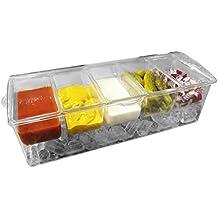 Evelots refrigerada condimento servidor w/5compartimentos, extraíble contenedores, bandeja de hielo