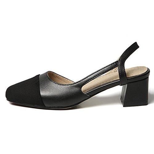 COOLCEPT Damen Casual Mitte Blockabsatz D'orsay Sandalen Geschlossene Slingback Schuhe Schwarz
