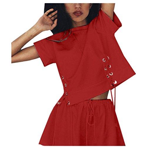 OYSOHE Sportswear Damen Sommer, NeuesteFrauen Sexy Bandage Shirt Kurzarm Bluse + Shorts Sport Zweiteiler Outfit(Rot,S)