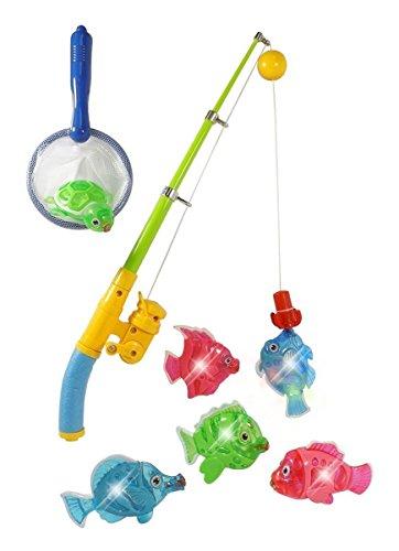 ToyVelt Magnetisches Licht-Angel-Badeset für Kinder - Rute & Schnur mit Schildkröte und 5 einzigartigen Fischen