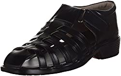 Kolapuri Centre Mens Black Faux Fur Ethnic Sandals - 7 UK