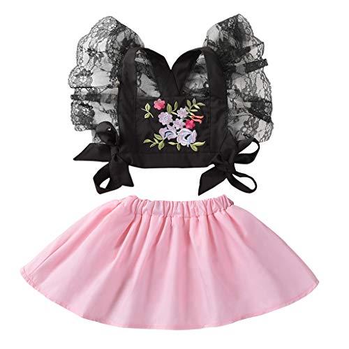 Oasics Bekleidungssets Kinder Baby Mädchen Ärmelloses Spitzenhalfter-Top mit Print und kurzem Rock für Kinder (0-24M) Mädchen Baby Sommer Bekleidung Set (0-6 M)